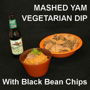 Vegetarian dip Rio Grande Mashed Yams and black bean chip dippers served with IPA ale