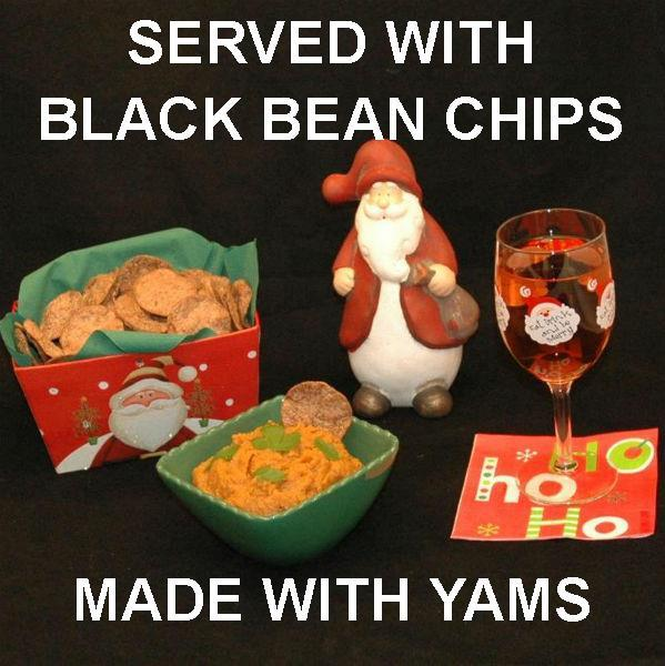 Vegetarian dip - spicy Rio Grande Mashed Yams with black bean chip dippers, served with semi-dry blush wine Christmas