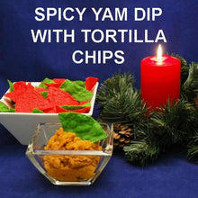 Load image into Gallery viewer, Spicy vegetarian Rio Grande Mashed Yams Dip with red and green  tortilla chip dippers Christmas