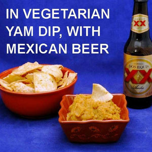 Vegetarian dip Rio Grande Mashed Yams with pita chip dippers, served with Mexican beer