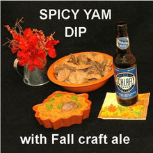 Load image into Gallery viewer, Spicy Vegetarian dip Rio Grande Mashed Yams with black bean chip dippersand Fall ale