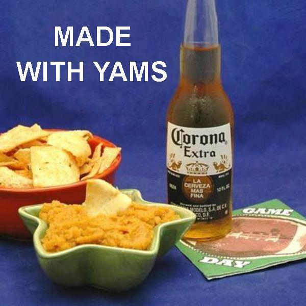 Spicy Vegetarian dip Rio Grande Mashed Yams with pita chip dippers and Mexican beer  Football