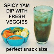 Load image into Gallery viewer, Vegetarian snack - spicy Rio Grande mashed yams dip with fresh veggies and a soft drink Summer