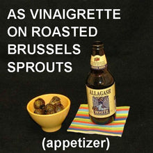 Load image into Gallery viewer, Roasted Brussels Sprouts with Bombay Vinaigrette Appetizer served with Alagash White Ale