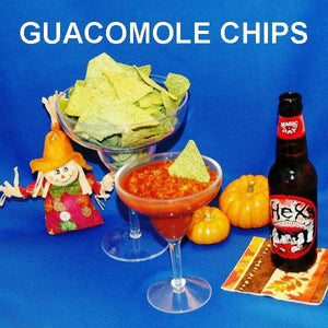 Roasted Garlic Tomato Salsa with guacamole tortilla chips, served with fall craft ale
