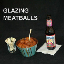 Load image into Gallery viewer, Roasted Garlic Spicy Ketchup Glazed Meatballs, served with IPA ale