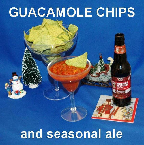 Spicy Roasted Garlic Tomato Salsa with guacamole tortilla chips, served with Brrr Red Ale Christmas