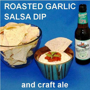 Roasted Garlic Tomato Salsa Cream Cheese Dip, served with ale
