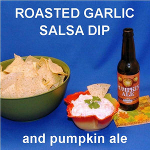 Roasted Garlic Tomato Salsa Cream Cheese Dip, served with pumpkin ale Fall