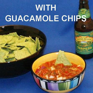 Spicy Roasted Garlic Tomato Salsa with avocado tortilla chips, served with Sierra Nevada Torpedo Extra IPA Ale