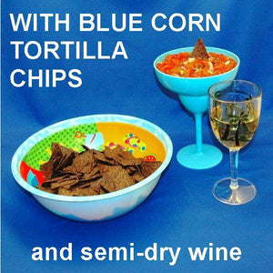 Roasted Garlic Tomato Salsa with blue corn tortilla chips, served with white wine Summer