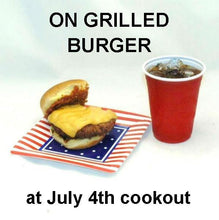 Load image into Gallery viewer, Burger sliders with Roasted Garlic Spicy Ketchup with soft drink July 4th