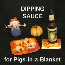 Load image into Gallery viewer, Pigs-in-a-Blanket with Roasted Garlic Spiced Ketchup for dipping, served with seasonal craft ale Fall