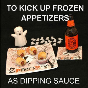 Halloween Pigs-in-a-Blanket with Roasted Garlic Spiced Ketchup for dipping, served with seasonal craft ale