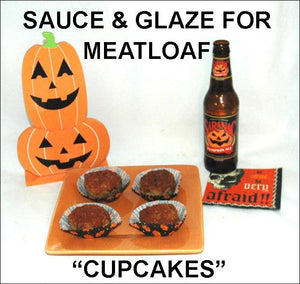 "Roasted Garlic Spiced Ketchup glazed meatloaf ""cupcakes"" and pumpkin ale Hallow"