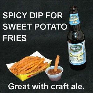 Sweet potato fries and Roasted Garlic Spicy Ketchup for dipping, with summer ale