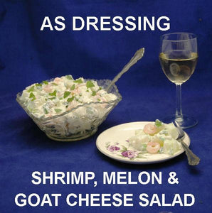 Shrimp & Melon Salad with Spicy Mango Dressing, served with white wine Summer