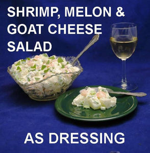 Shrimp & Melon Salad with Spicy Mango Dressing, served with white wine