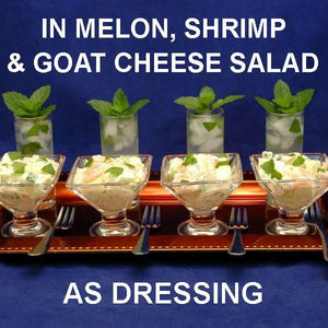 Shrimp & Melon Salad with Spicy Mango Dressing, in tasting martini glasses, served with mini mojitos Fall