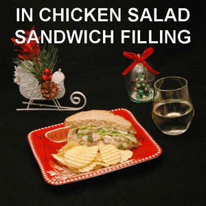 Spicy Mango Chicken Salad Sandwich on oat bread with semi-dry white wine Christmas