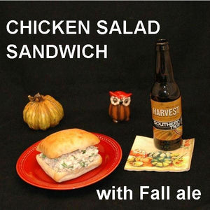 Spicy Mango Chicken Salad Sandwich on ciabatta roll with seasonal ale Fall