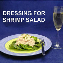 Load image into Gallery viewer, Spicy Mango Shrimp Salad on bibb lettuce, garnished with snipped chives, served with white wine