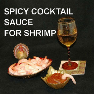 Shrimp cocktail with Casablanca Cocktail Sauce and white wine Thanksgiving appetizer