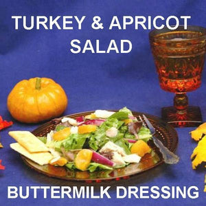 Tossed Turkey Salad with apricots, red onions and Sweet Ginger Apricot Dressing, served with white wine Fall