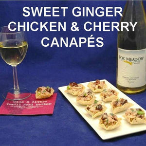 Scoops filled with Sweet Ginger Cherry Chicken Salad, party appetizer served with white wine