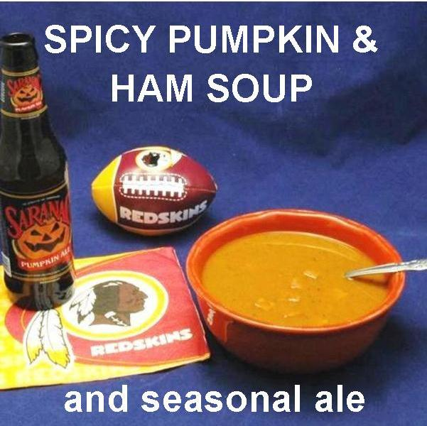 Sweet and Spicy Pumpkin and Ham Soup, served with pumpkin ale for Redskins game day