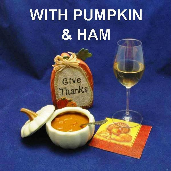 Sweet and Spicy Pumpkin and Ham Soup forThanksgiving appetizer & tailgating with white wine