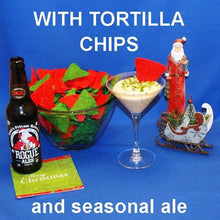 Load image into Gallery viewer, Texas Wildfire Poppy Seed mayonnaise and sour cream chip dip, served with Rogue Santa's Private Resrve ale Christmas