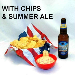 Texas Wildfire Poppy Seed mayonnaise and sour cream dip and potato chips, served with summer ale July 4th