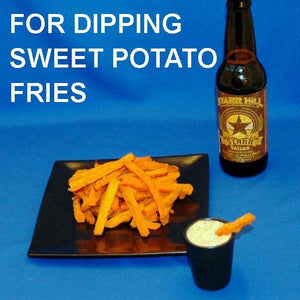 Sweet potato fries with Texas Wildfire Poppy Seed dip, served with ale