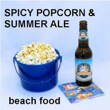 Load image into Gallery viewer, Texas Wildfire Poppy Seed spiced popcorn, served with summer ale