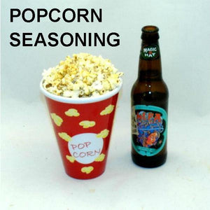 Texas Wildfire Poppy Seed spiced popcorn, served with ale