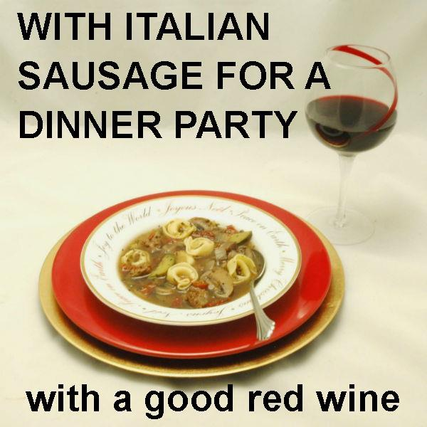 Tortellini Soup with Italian sausage, tomatoes, onions, zucchini and mushrooms, served with red wine Christmas