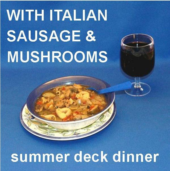 Tortellini Soup with Italian sausage, tomatoes, onions, zucchini and mushrooms, served on the deck with red wine Summer