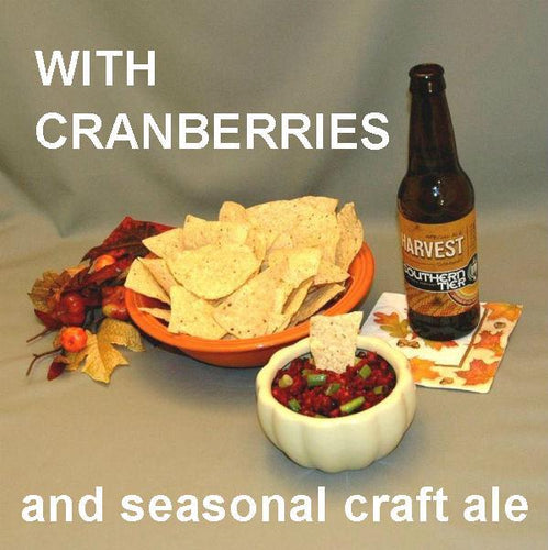 Spicy Tortuga Bay Cranberry Orange Salsa served with tortilla chips and fall craft ale