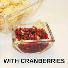 Load image into Gallery viewer, Spicy Tortuga Bay Cranberry Orange Salsa served with tortilla chips