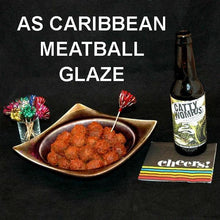 Load image into Gallery viewer, Tortuga Bay Spicy Ketchup Glazed Meatballs, served with craft ale