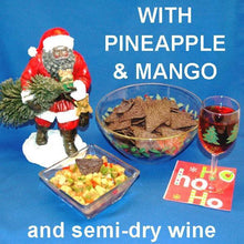 Load image into Gallery viewer, Tortuga Bay Pineapple Mango Salsa with red peppers and green onions, served with blue corn tortilla chips and semi-dry blush wine Christmas