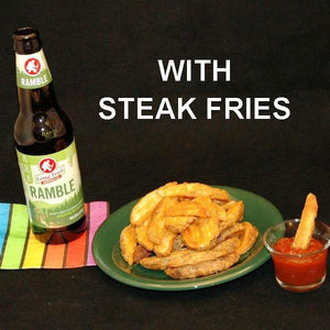 Fries and Tortuga Bay Spiced Ketchup, served with craft ale