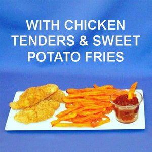 Chicken tenders and sweet potato fries with Tortuga Bay Spicy Ketchup dipping sauce