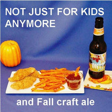 Load image into Gallery viewer, Chicken tenders and sweet potato fries with Tortuga Bay Spicy Ketchup dipping sauce, served with fall ale