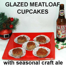 Load image into Gallery viewer, Meatloaf cupcakes with Tortuga Bay Spicy Ketchup sauce and glaze, served with Mad Elf ale Christmas