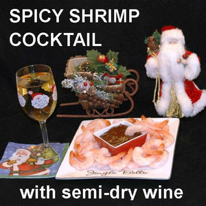 Steamed Shrimp with Tortuga Bay Spiced Ketchup Cocktail Sauce, served with semi-dry white wine Christmas