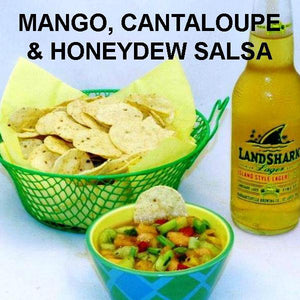 Tortuga Bay Mixed Fruit Salsa with tortilla chips and beer Summer