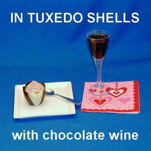 Traditional Orange Chocolate Mousse in Tuxedo shells, served with chocolate wine Valentine's