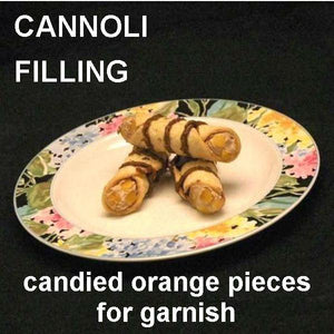 Cannoli filled with Traditional Orange Chocolate Mousse, garnished with candied orange pieces and drizzled with chocolate sauce Summer